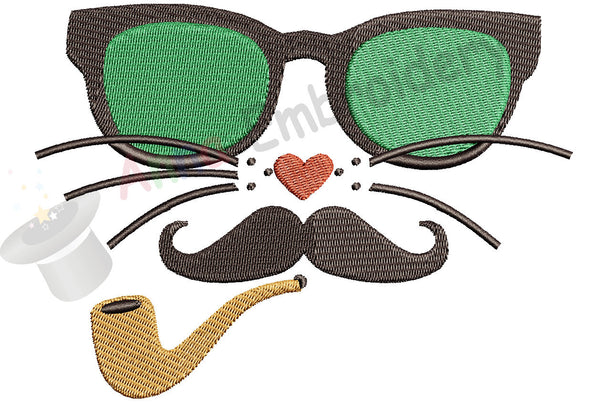 Cat with Glasses  Moustache Pipe Machine Embroidery Design- funny cat face-Instant Download