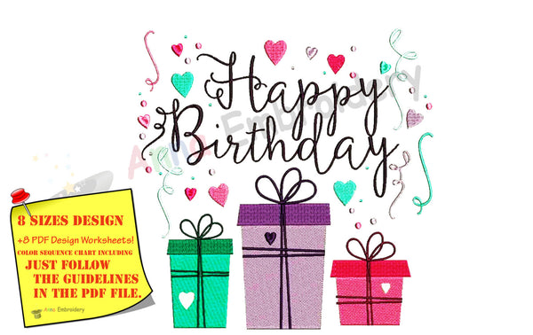 Happy Birthday Machine Embroidery Design,word art embroidery,filled stitch,machine patterns,8 sizes design, INSTANT DOWNLOAD