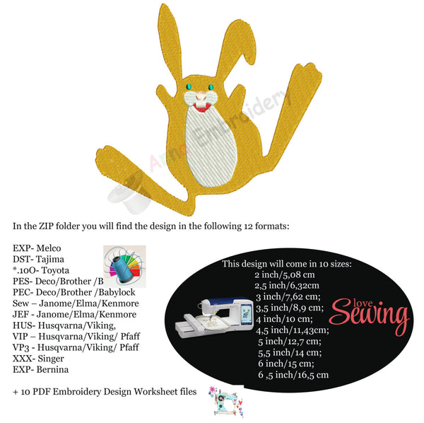 Cute Easter Bunny Machine Embroidery Design-Instant Download-10 sizes-12 file formats-Digital File-pes