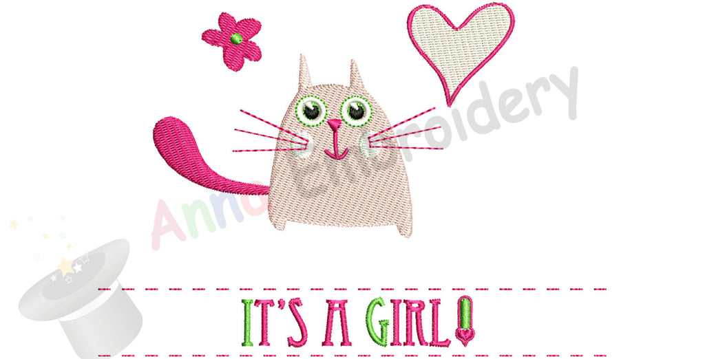 Baby Girl Machine Embroidery-Cute Kitty Design-Newborn Pattern-PES