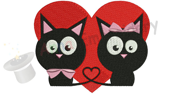 Cats Love Funny Wedding Machine Embroidery Design