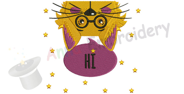 Hi Kitty Machine Embroidery Design-Cute cat pattern -funny kitty-PES
