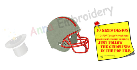 Football Helmet Sport Machine Embroidery Digitized Design Pattern- Instant Download - 4x4 , 5x7, and 6x10 hoops