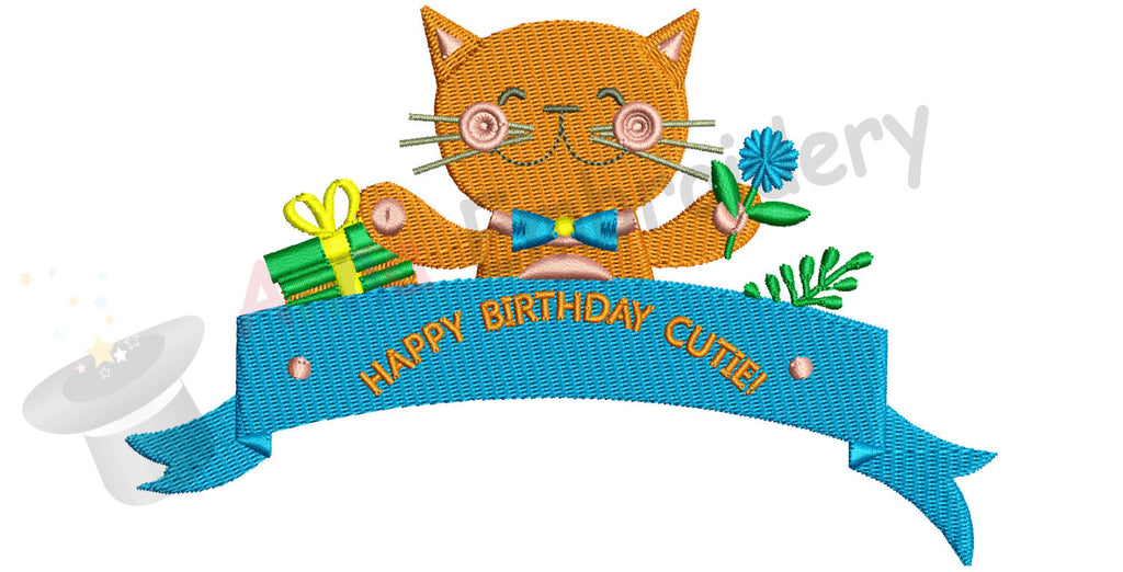 Happy BirthdayCutie Machine Embroidery Design-Sweet kitty pattern-1st Happy Birthday- INSTANT DOWNLOAD- pes