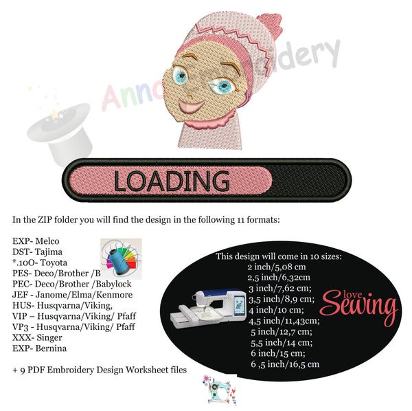 Baby Girl Loading Embroidery-Baby shower-Newborn- Machine Patterns- PES