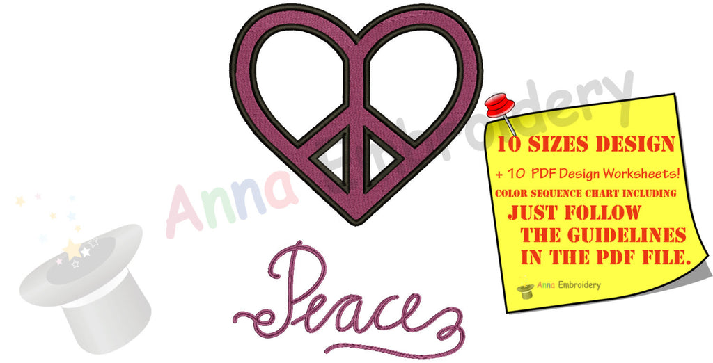 Heart Peace Sign Embroidery Design