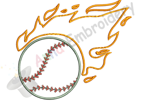 Baseball Embroidery Design, Fireball Embroidery,Sports Embroidery,Baseball, Ball Applique