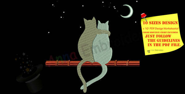 Cat Love Machine Embroidery Design-cats in love-Moon Stars- PES