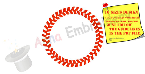 Baseball Circle Machine Embroidery Design-baseball frame-sport design-PES