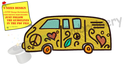 Hippie bus, Car beetle, Van/Camper- machine embroidery applique designs, 9 sizes, Instant Download,Pes
