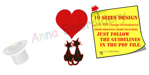 Cat Love Heart Embroidery Machine file, 10 sizes, PES