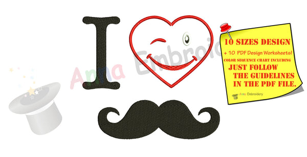 I love Dad, I Love Mustache Embroidery Design, Father's Day, Instant Download ,PES