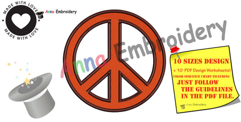 PEACE symbol Embroidery design