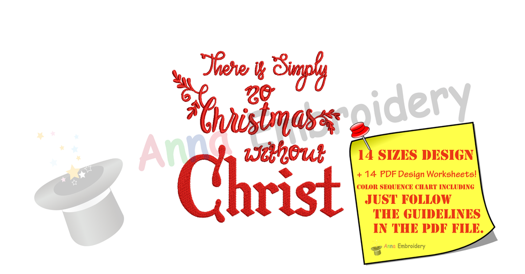 No Christmas without Jesus Embroidery-Jesus Birth Embroidery Design-Christmas Embroidery Design-Embroidery Patterns-Instant Download-PES