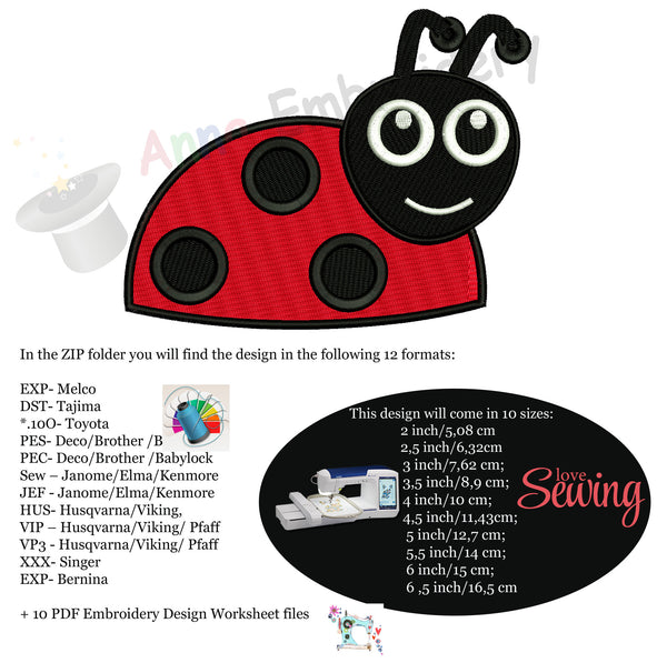 Cute Ladybug Machine Embroidery Design-bug-10 sizes-pes