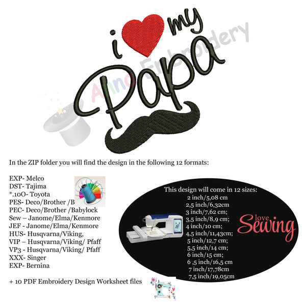 I love my Papa Embroidery Design-Love Dad- Father's Day Machine Embroidery Patterns-Instant Download