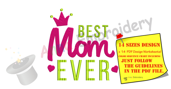 Best Mom Ever Embroidery Design- Mother's Day Embroidery-Machine Embroidery Patterns-Instant Download-PES