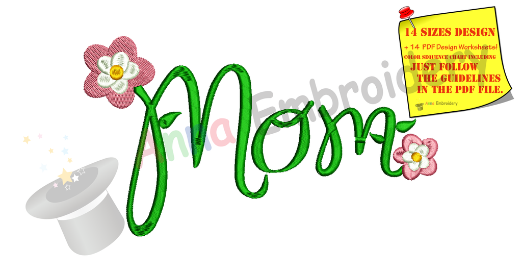 Mother Mom Flowers Embroidery Design Mothers Day Embroidery