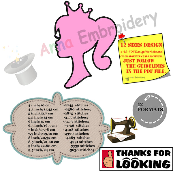 Princess with Crown Applique Design-Girl Queen Applique Design -Machine Applique Embroidery Patterns-Instant Download-PES