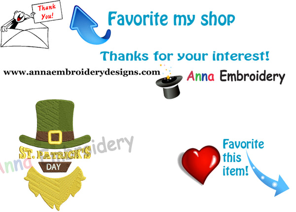 St. Patrick's Day Embroidery Design-Hat-Lucky-Irish-Machine Patterns-Instant Download
