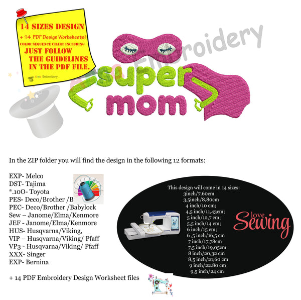 Super Mom Embroidery Design- Mother's Day Embroidery-Superhero- Machine Embroidery Patterns-Instant Download-PES