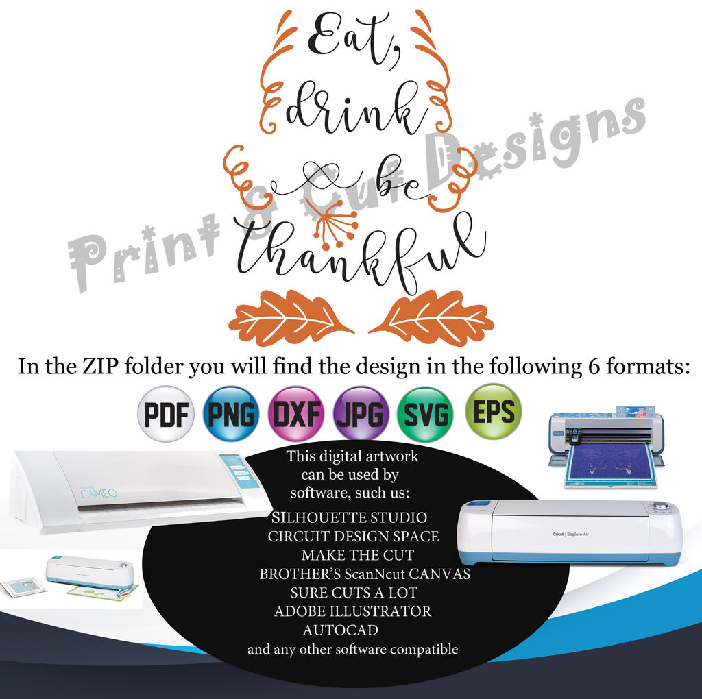 Thanksgiving Svg Eat Drink And Be Thankful Svg Silhouette Cutting File Anna Embroidery Designs