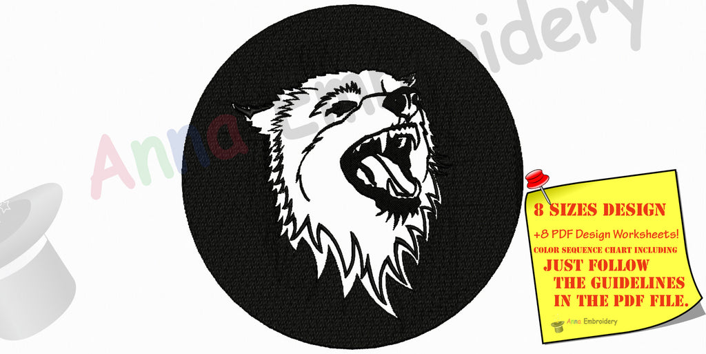 Wolf Machine Embroidery Design, Wolf Design, Wolf Head Embroidery Design, Filled stitch, machine patterns,8 sizes design INSTANT DOWNLOAD