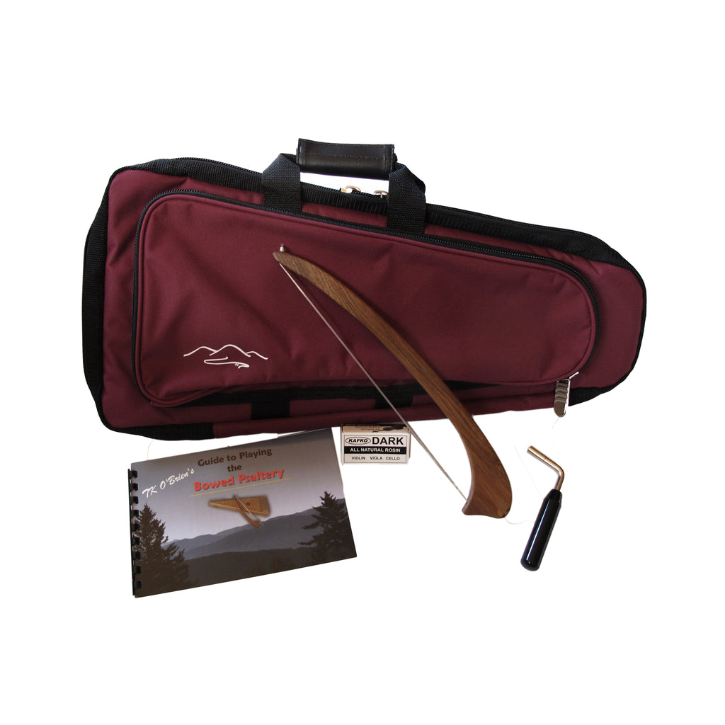 Package includes carrying case, book, tuning wrench and rosin.