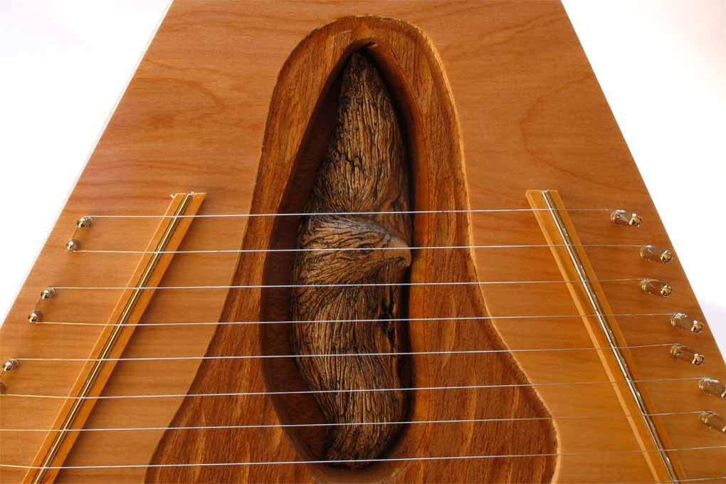 deluxe lap harp with mountain man figure