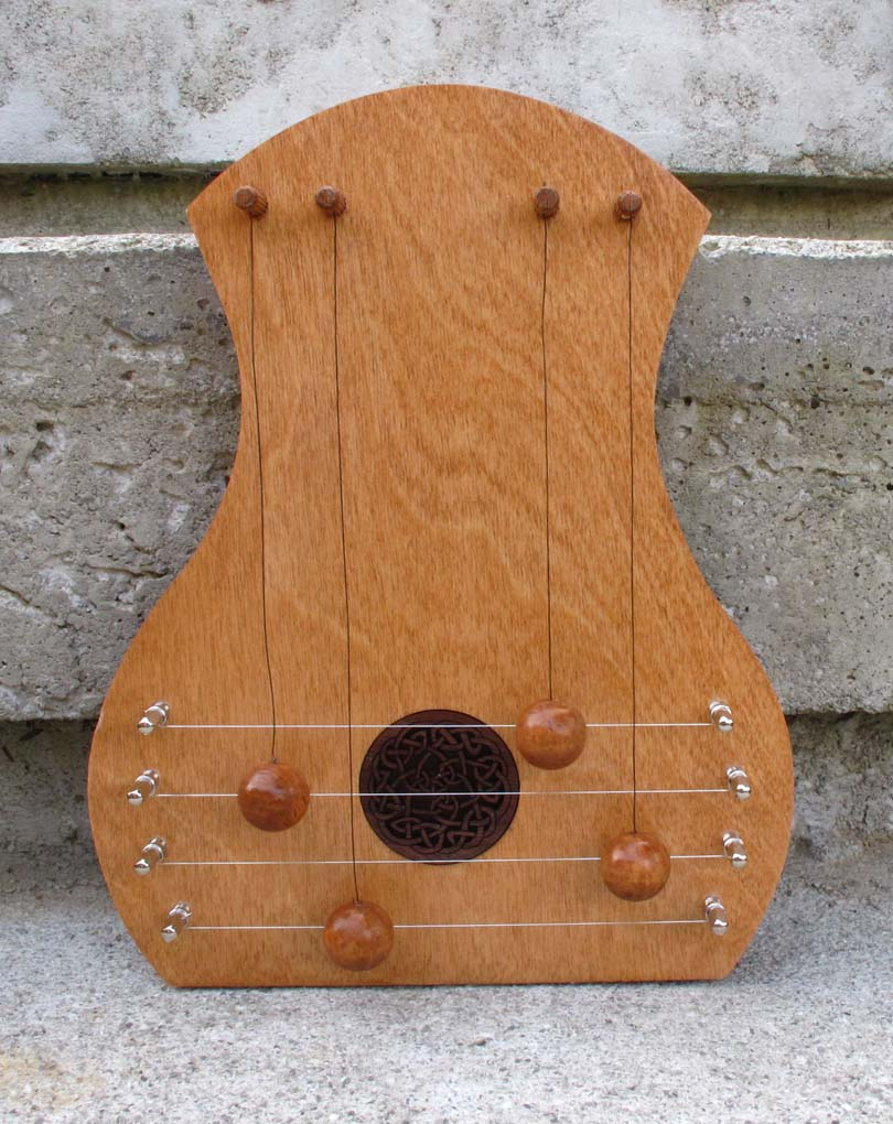 door harp with birch face and Celtic Knot insert