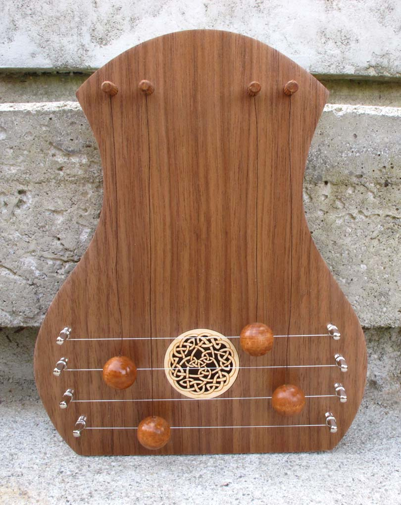 door harp with walnut facing and celtic knot soundhole