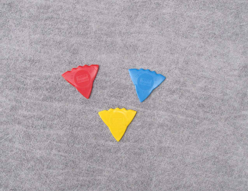 Herdim triangular picks in red, blue and yellow