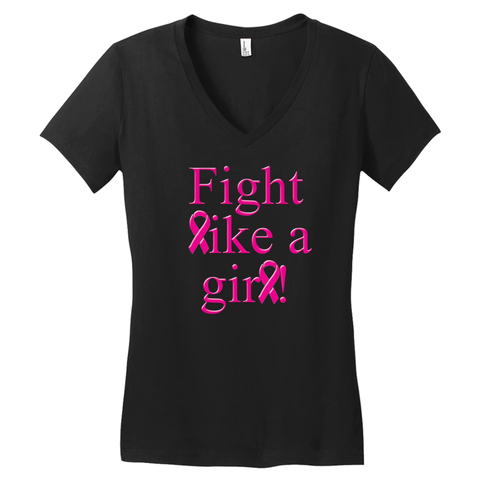 Fight Like A Girl Woman's V-neck T-shirt