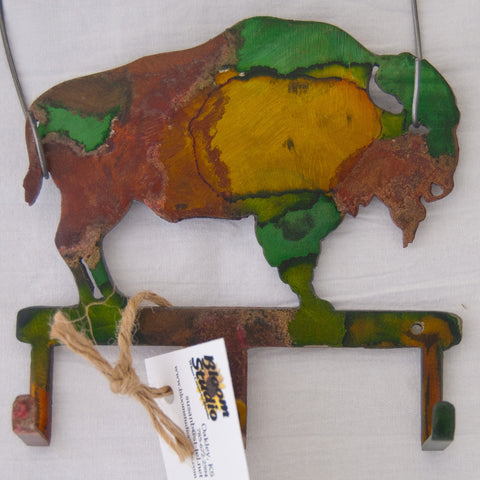 Multi-colored bison small item/key hanger