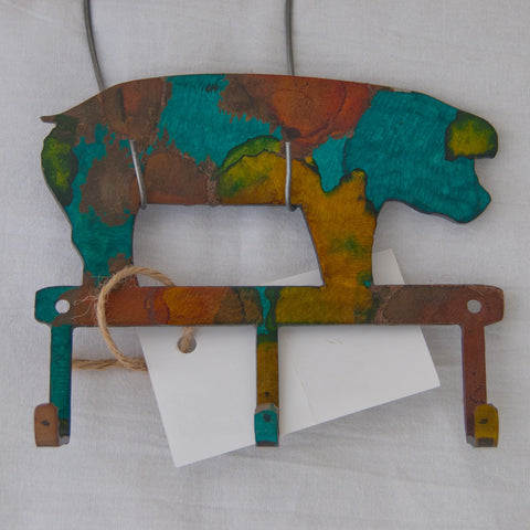 Multi-colored pig small item/key hanger