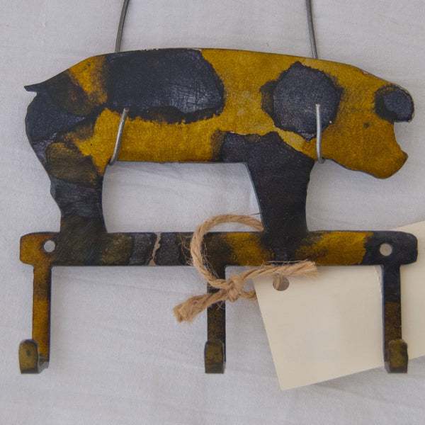 Yellow/Black pig small item/key hanger