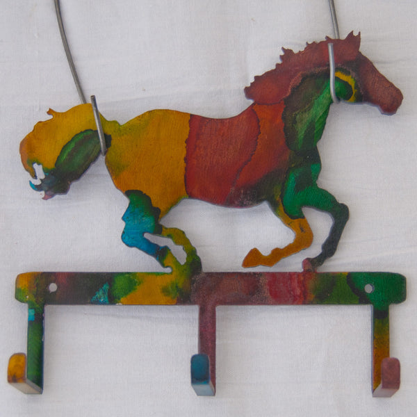 Multi-colored running horse small item/key hanger