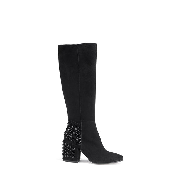 Embellished studs suede knee boots