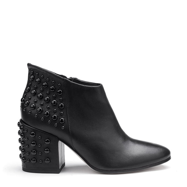 Embellished studs leather ankle boots