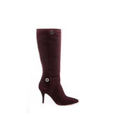 Burgundy suede knee high boot