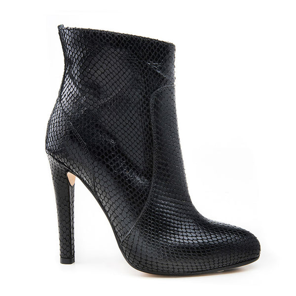 Black  embossed almond toe bootie