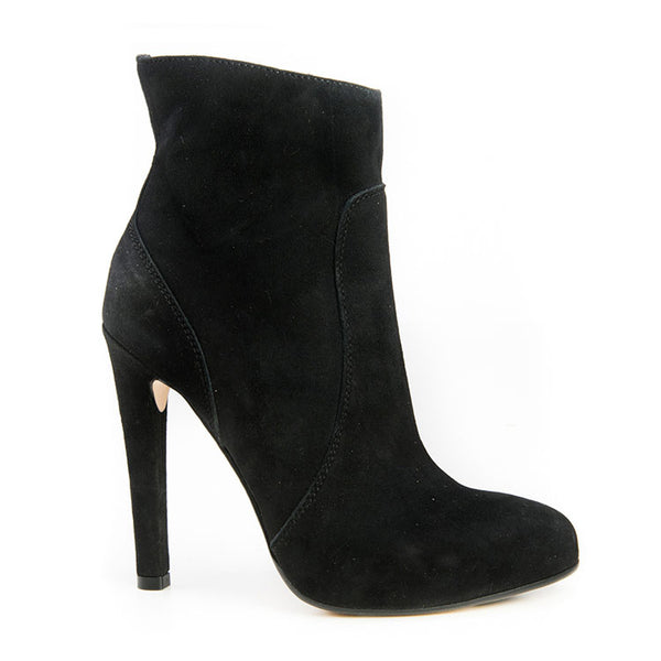 Black  Suede almond toe bootie