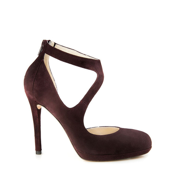 Suede almond toe strappy heel