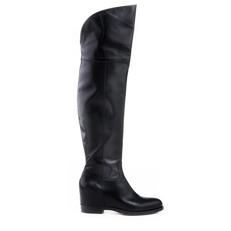 Black leather thigh high boot