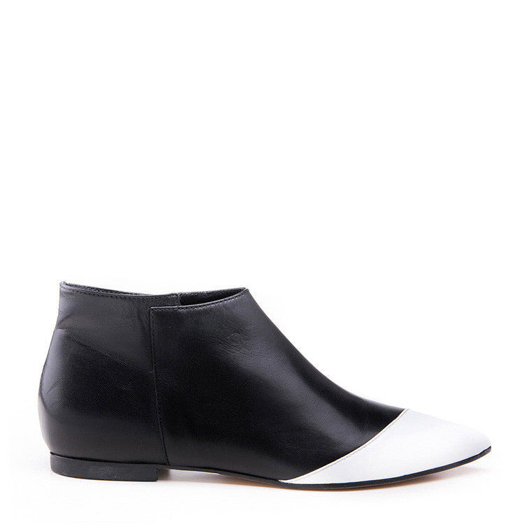 Two Toned patent and leather bootie