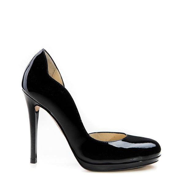 Black patented round-toe platform stiletto