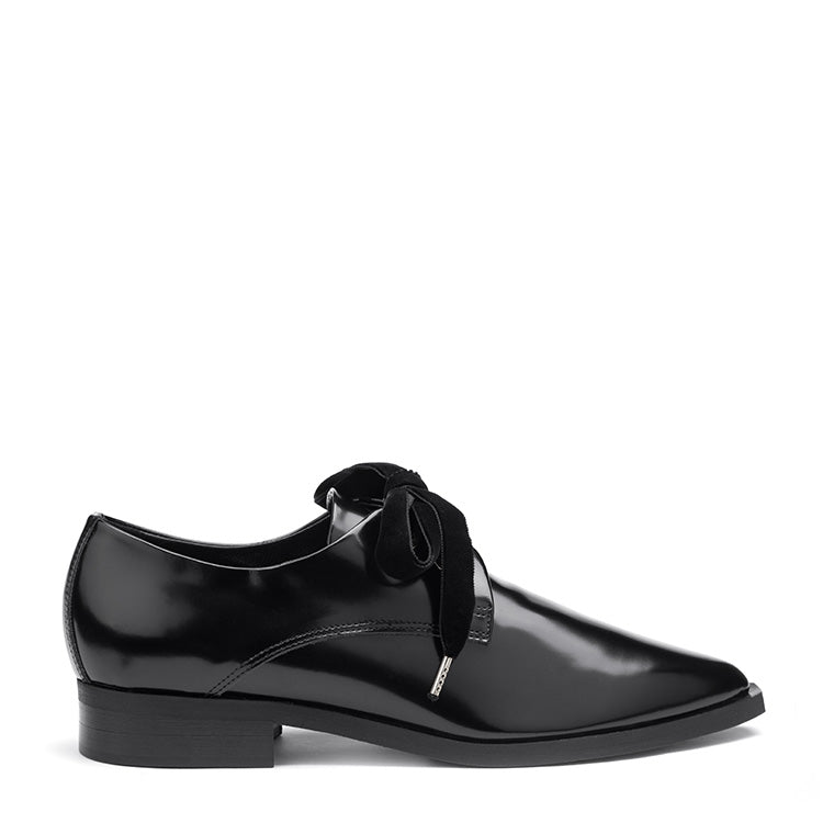 Glosed-leather velvet lace oxford shoes