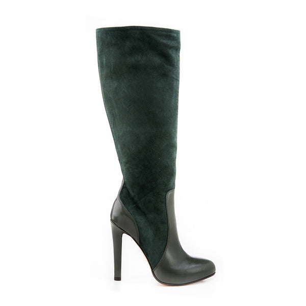 Leather suede knee high boot
