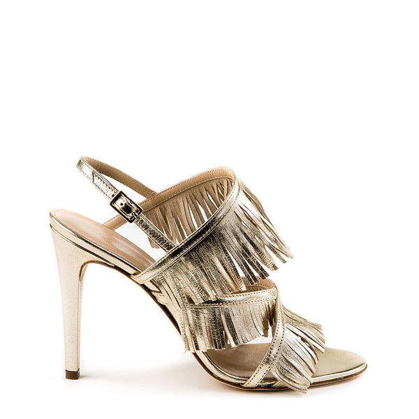 Metallic fringe sandals