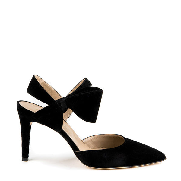 Suede pointy toe with bow